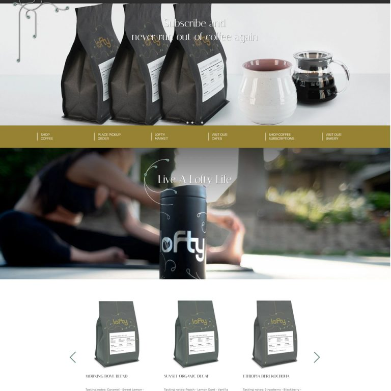 Lofty Coffee website homepage screenshot